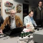 Alf, Thomas, Per och Hans kollar att antenner medmera funkar